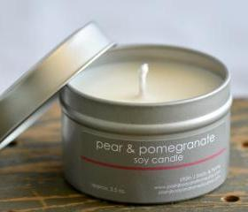Soy Candle Tin 4 oz - Pear & Pomegrante