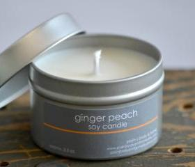 Soy Candle Tin 4 oz - Ginger Peach