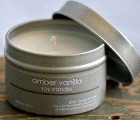 Amber Vanilla Soy Candle Tin 4 oz.