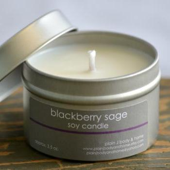 Blackberry Sage Soy Candle Tin 4 oz